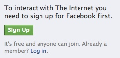 To interact with The Internet you need to sign up at Facebook first