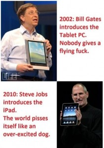 2002 Bill Gates introduces the TabletPC 2010 Jobs introduces iPad