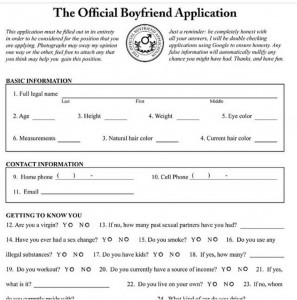 Boyfriend Application Form