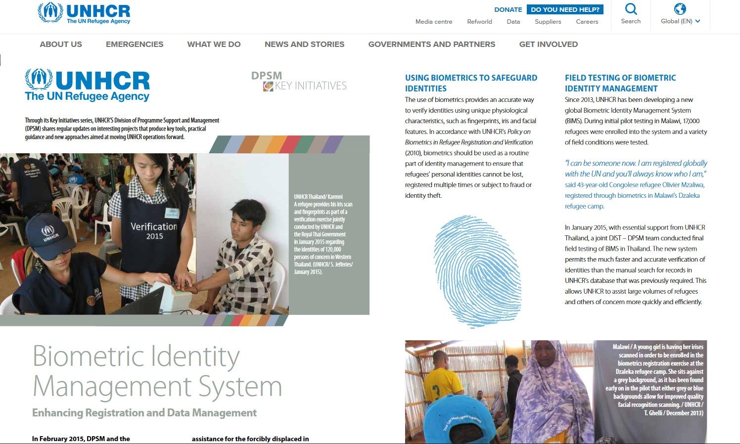 UNHCR- Biometric Identity Management System